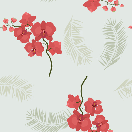 Vector seamless tropical pattern with palm leaves and orchid flowers. Floral illustration for textile, print, wallpapers, wrapping.