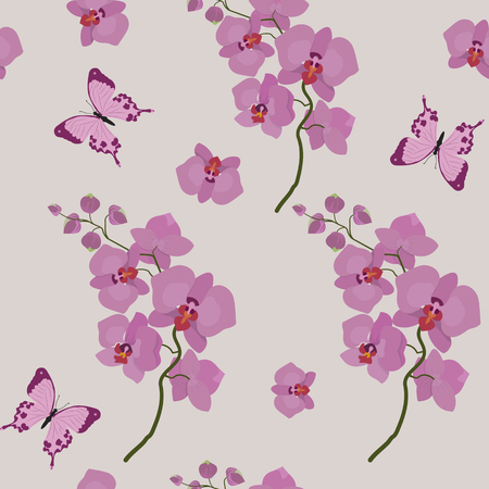 Seamless vector illustration with delicate pink orchids. For decoration of textiles, packaging, web design.