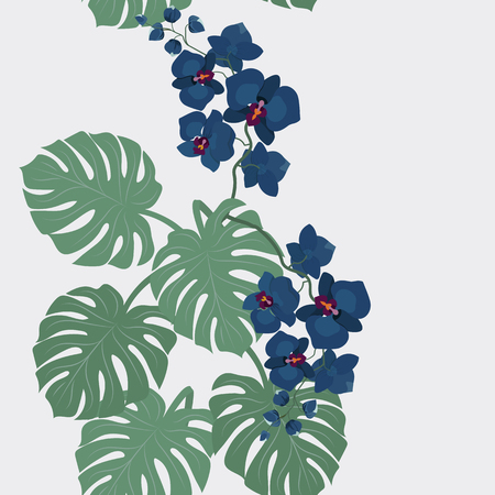 Floral seamless vector tropical pattern, summer background with exotic flowers, jungle leaf, orchid flower. Vintage botanical wallpaper, illustration in Hawaiian style. Stock Illustratie