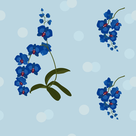 Seamless beautiful vector illustration with blue orchid. For decoration of textiles, packaging, web design.