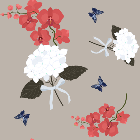 Seamless vector illustration with gentle orchids and hydrangea. For decoration of textiles, packaging, web design.