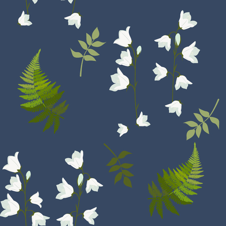 Vector seamless illustration with wild bells and fern leaves on a dark background. For decoration of textiles, packaging, web design. Stock Illustratie