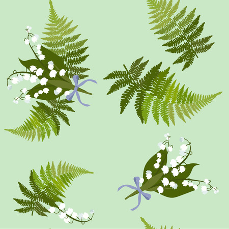 Seamless vector illustration with lilies of the valley and fern leaves on a green background. For decoration of textiles, packaging, web design, wallpaper.