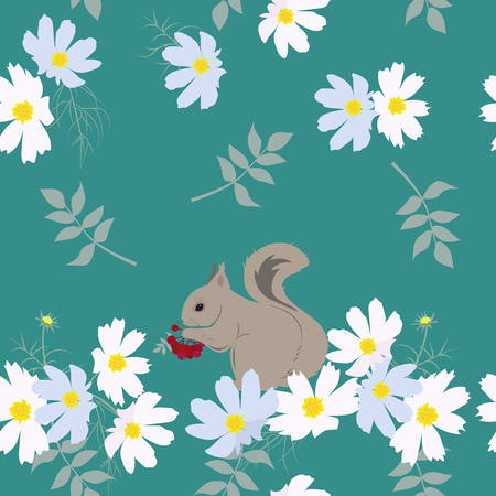 Seamless vector illustration with delicate flowers and a squirrel. For decoration of textiles, packaging, cover. Stock Illustratie