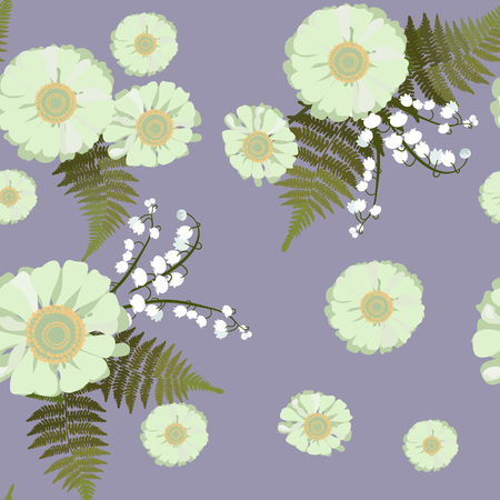 Vector summer illustration with lily of the valley, fern leaves and daisies. For decorating textiles, packaging, covers, web designs.