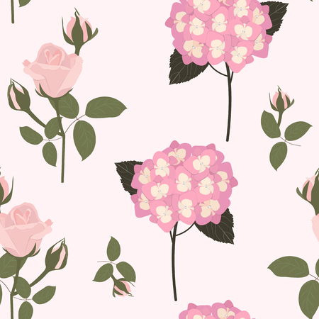 Seamless vector illustration with delicate roses and hydrangea on a light background. For decoration of textiles, packaging, web design.