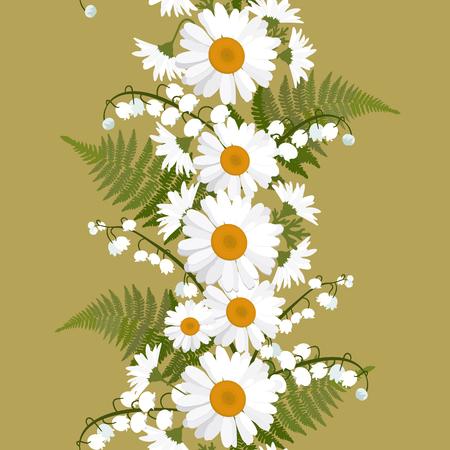 Nahtlose Vektorillustration mit Gänseblümchen, Maiglöckchen und Farnblättern. Vertikal. Zur Dekoration von Textilien, Verpackungen, Tapeten. Vektorgrafik
