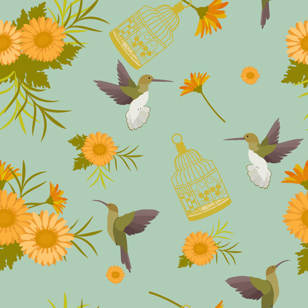 Seamless summer pattern with gerberas, cage and hummingbirds. For decorating textiles, packaging and wallpaper.Vector illustration. Stock Illustratie