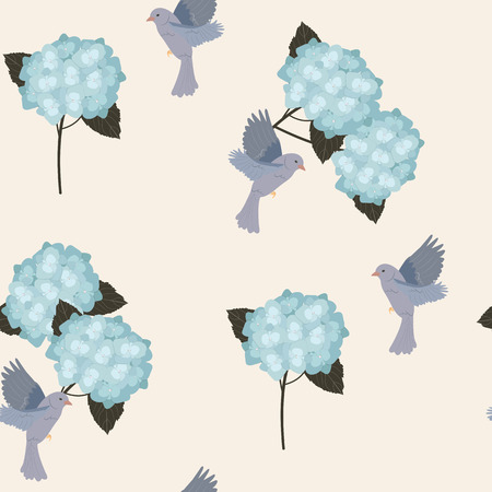 Seamless vector illustration with hydrangeas and birds. For decorating textiles, packaging, covers, web designs. Stock Illustratie