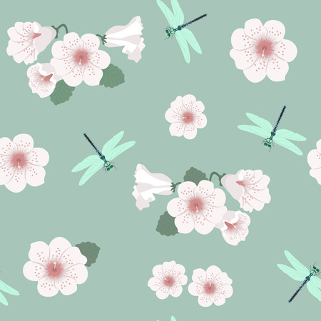Seamless vector illustration with flowers and dragonflies on a green background. For decoration of textiles, packaging, web design.