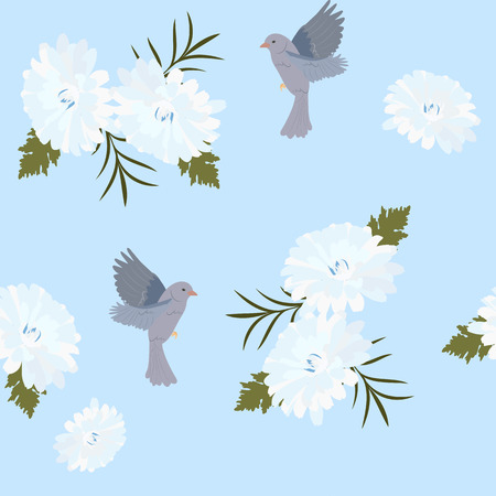 Seamless vector illustration with chrysanthemums and birds on a blue background. For decoration of textiles, packaging, web design.