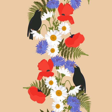 Vector seamless illustration with cornflowers, poppies, daisies and nightingales on a beige background. Vertical. For decoration of textiles, packaging, wallpaper.