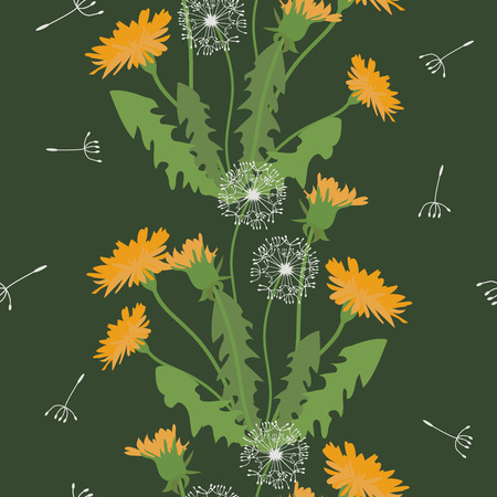 Seamless vector illustration with dandelions on a dark background. For decoration of textiles, packaging, wallpaper. Vertical. Stock Illustratie
