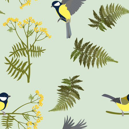 Seamless vector illustration with field herbs and titmouse. For decoration of textiles, packaging, web design.