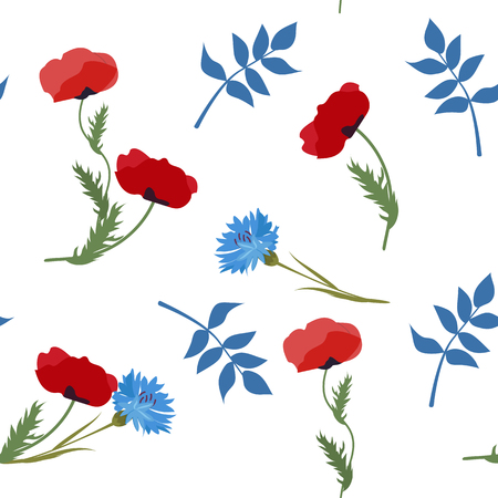 Seamless vector illustration with cornflowers and poppies on a white background. For decoration of textiles, packaging, web design.