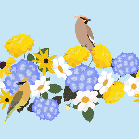 Vector seamless illustration with beautiful flowers and waxwing birds. Horizontal. For decoration of textiles, packaging, wallpaper.