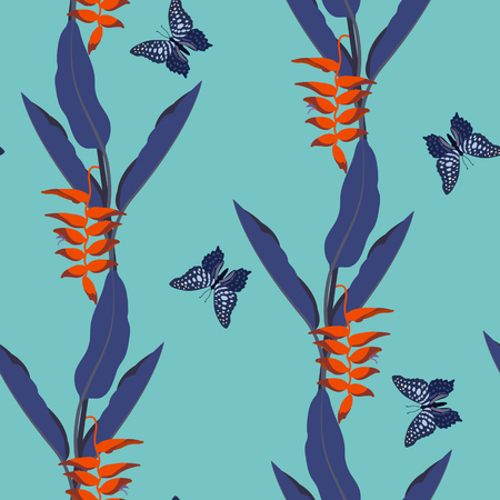 Seamless vector illustration with tropical leaves, flowers and butterflies on a turquoise background. For decoration of textiles, packaging, wallpaper.