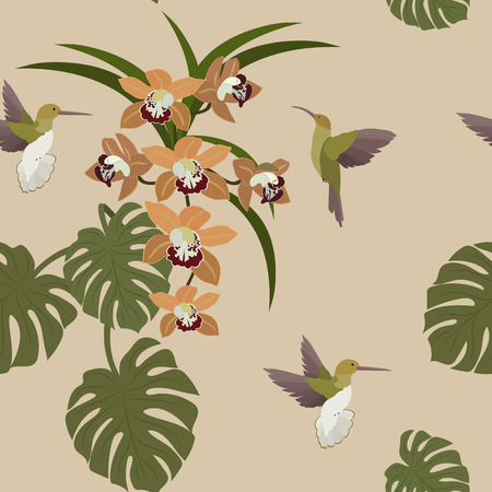 Tropical floral summer seamless vector pattern background with exotic flowers orchid, hummingbirds, monster leaves. Botanical wallpaper vector illustration. Stock Illustratie