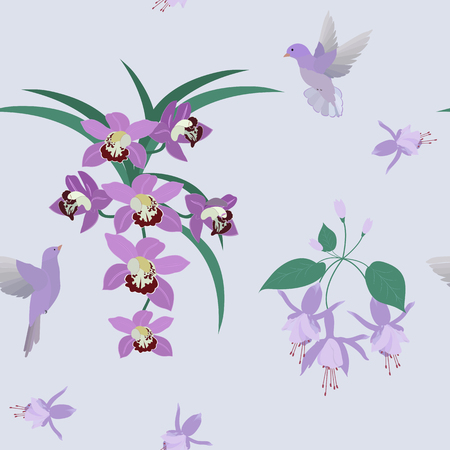 Seamless vector illustration with orchids and tropical birds. For decoration of textiles, packaging, web design.