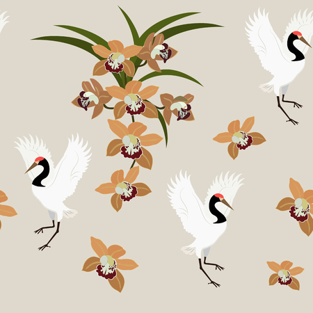 Seamless vector illustration with orchids and birds cranes in pastel colors. For decoration of textiles, packaging, web design.