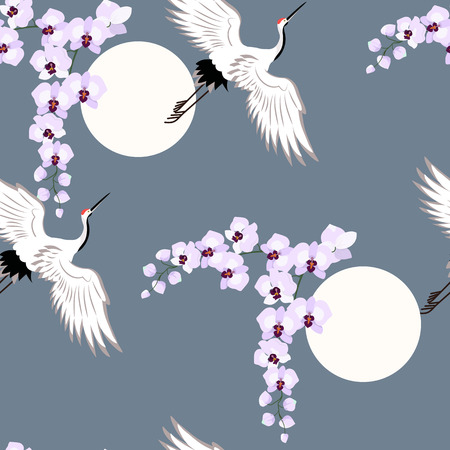 Seamless vector illustration with orchids and birds cranes on a dark background. For decoration of textiles, packaging, wallpaper.