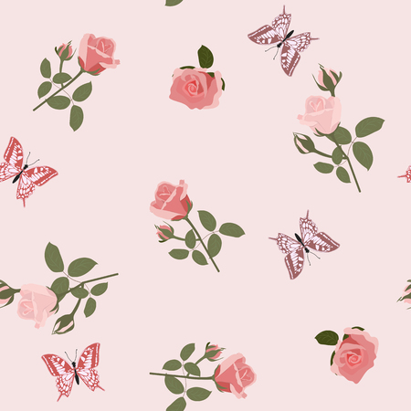 Vector seamless beautiful illustration with roses and butterflies on pink background. For decoration of textiles, packaging, web design. Stock Illustratie