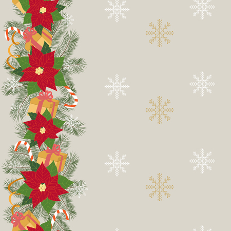 Seamless Christmas illustration with branches of spruce, poinsettia and gifts on snowflakes background. Vertical. For decoration of textiles, packaging, web design. Stock Illustratie
