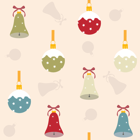 Seamless vector christmas illustration with christmas decorations. For decoration of textiles, packaging, web design.