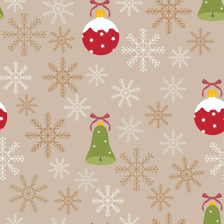 Seamless illustration with Christmas decorations and snowflakes on a beige background. For decoration of textiles, packaging, web design. Stock Illustratie