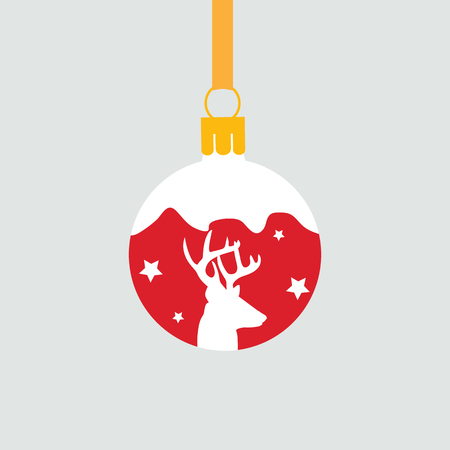 Vector illustration of new year red ball with deer on white isolated background. Template for decorate postcard, poster, web design. Stock Illustratie