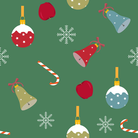 Seamless festive vector illustration with Christmas decorations on a green background. For decoration of textiles, packaging, web design.