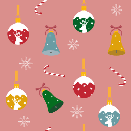 Vector holiday seamless illustration with Christmas decorations on a pink background. For decoration of textiles, packaging, web design.