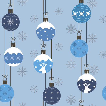 Seamless vector illustration with Christmas balls on blue background. For decoration of textiles, packaging, web design.