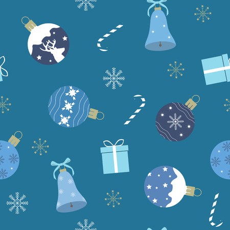 Seamless vector illustration with Christmas decorations and gifts on a blue background. For decoration of textiles, packaging, web design.