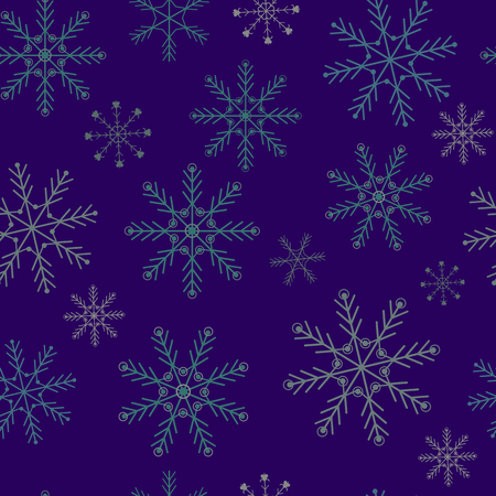Seamless festive snowflakes vector illustration on purple background. For decoration of textiles, packaging, web design.