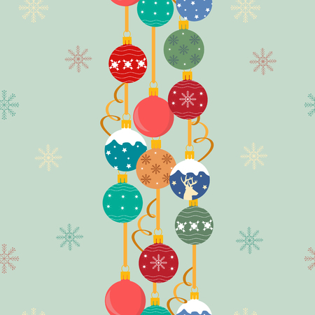 Seamless festive vector illustration with new year toys. For decoration of textiles, packaging, web design.