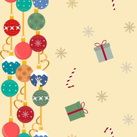Seamless festive vector illustration with Christmas balls and gifts on a beige background. For decoration of textiles, packaging, web design.