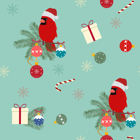 Festive seamless vector illustration with bird Cardinal in Santa hat and New Year balls. For decoration of textiles, packaging, web design. Stock Illustratie