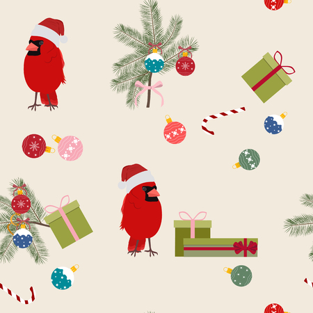 Vector Christmas seamless illustration with birds. Cardinal in Santa hat, gifts, Christmas tree branch with balls. For decoration of textiles, packaging, web design. Stock Illustratie