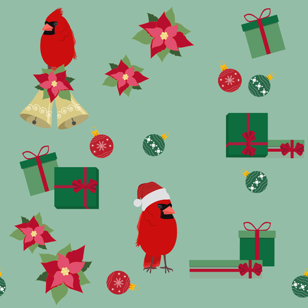 Vector Christmas seamless illustration with birds. Cardinal in Santa hat, gifts, balls. For decoration of textiles, packaging, web design.