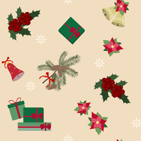 Seamless vector Christmas illustration with gifts, holly berries, and Christmas decorations on a beige background. For decoration of textiles, packaging, web design.