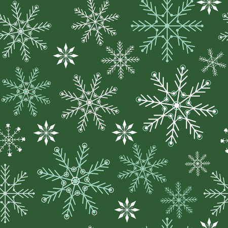 Seamless vector christmas illustration of snowflakes on a green background. For decorating textiles, packaging, covers, web designs. Stock Illustratie