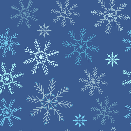 Seamless vector christmas illustration of snowflakes on a blue background. For decorating textiles, packaging, covers, web designs.