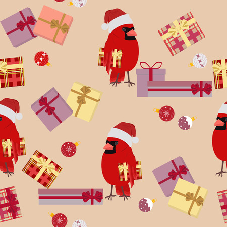 Festive seamless vector illustration with bird Cardinal in Santa hat and gifts. For decoration of textiles, packaging, web design. Stock Illustratie