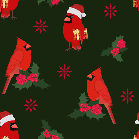 Seamless vector Christmas illustration with a cardinal bird and holly berries on a dark background. For decorating textiles, packaging, web design.