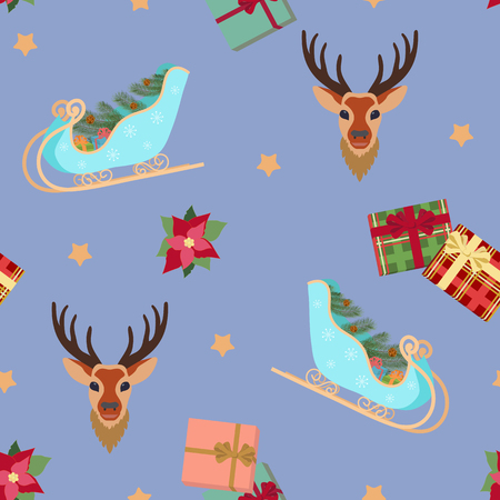 Seamless Christmas vector illustration with Santas sleigh, deer, gifts on a purple background. For decorating textiles, packaging, web design. Stock Illustratie