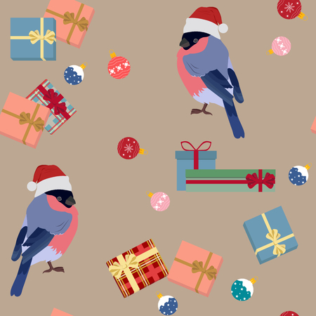 Festive beautiful vector seamless illustration with a bullfinch bird in a Santa hat, gifts and Christmas balls. For decoration of textiles, packaging, web design.