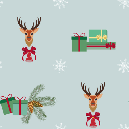 Seamless Christmas vector illustration with a deer, gifts and a fir branch on a gray background. For decorating textiles, packaging, web design.