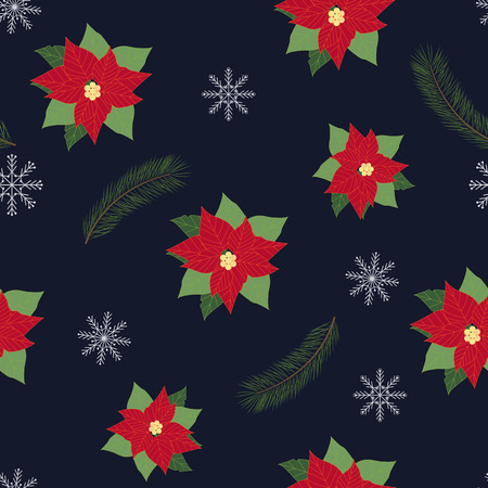 Vector Christmas seamless illustration with poinsettia flowers and fir branches on a dark background. For decorating textiles, packaging, web design.