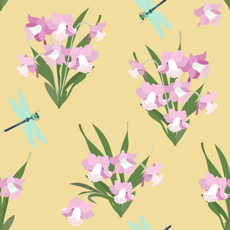 Seamless vector illustration with daffodils and dragonflies on a yellow background. For decorating textiles, packaging, wallpaper. Stock Illustratie